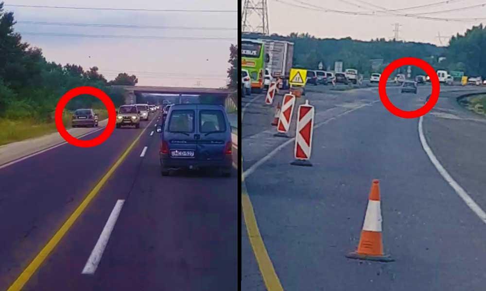 Szemben a forgalommal, át a záróvonalon. Újabb idióta az utakon, Videó!