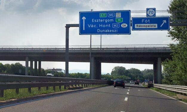 Az M2-es egyik fontos szakaszán csak 40 km/h-ás sebességgel lehet menni
