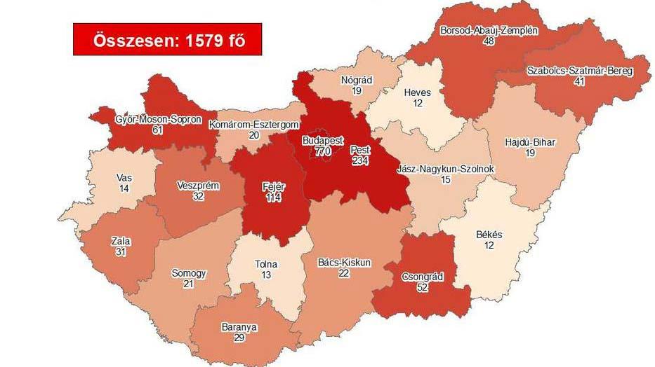 12 beteg hunyt el koronavírusban, továbbra is Budapesten és Pest megyében a legmagyasabb a fertőzöttség
