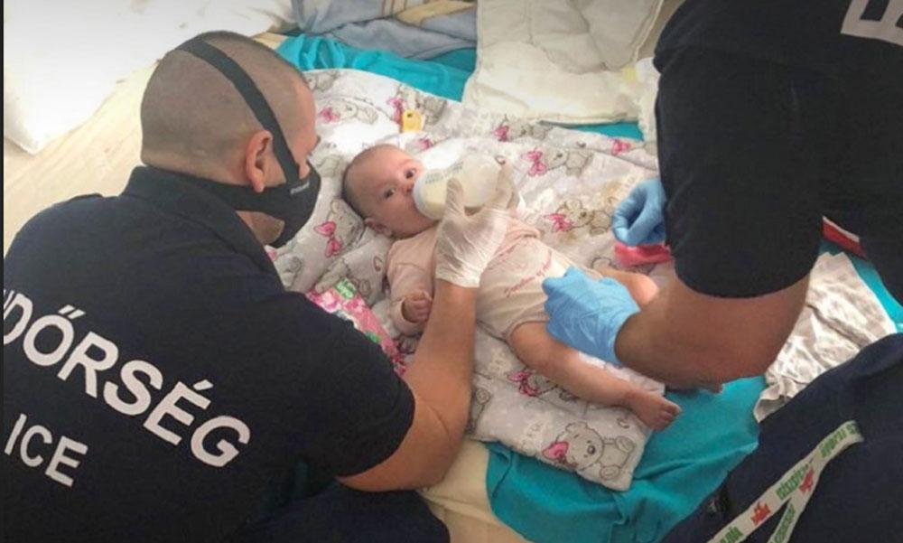 Őrjöngő drogos apától mentették meg a kisbabát a rendőrök