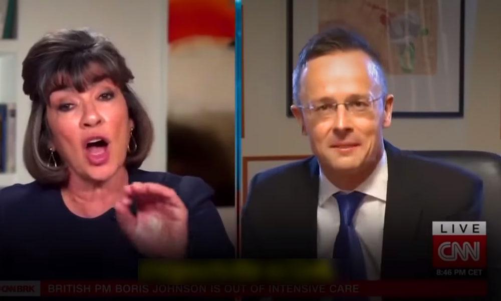 Dunakeszin készült az a CNN-interjú, amiben egymásnak ment Szijjártó és az Emmy-díjas riporter