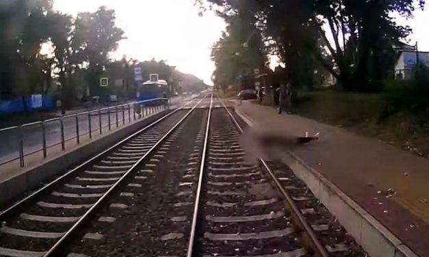 Megrázó felvétel arról, ahogy az érkező villamos alá zuhan egy férfi (18+)