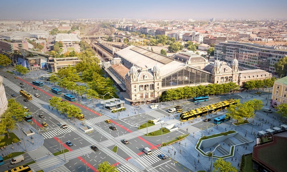 Ilyen lehetne a Nyugati tér a ronda felüljáró nélkül és a Bajcsy-Zs. út új villamosvonalával
