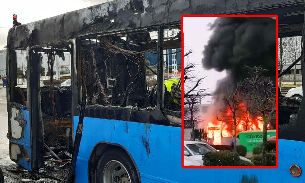 Hatalmas lángokkal égett egy busz Dél-Budán, nem sok maradt belőle