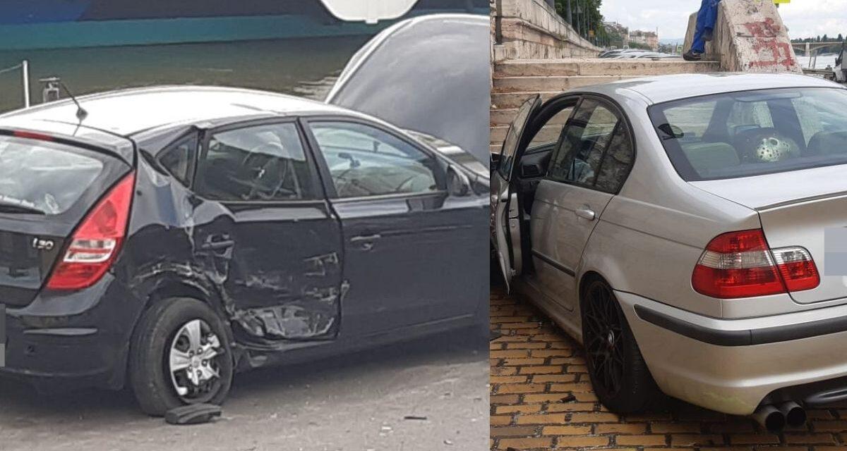 Szalagkorlátnak rohant egy autós a rakparton – Egy BMW-s tarolta le előzés közben – Fotók a helyszínről