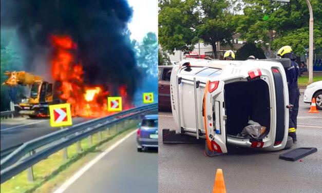Kiégett egy darus autó az M0-M2-es csomópontnál, közben nagyon csúszott a Suzuki az Üllői úton
