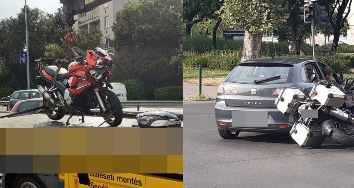 Szörnyű baleset Újbudán: a motoros átrepült az autón és a szélvédőbe csapódott és ez még nem minden – Fotók a helyszínről